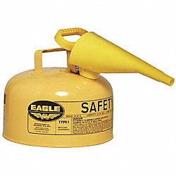 Type I Safety Can, 2 gal, Ylw, 9-1/2In H