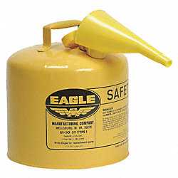 Type I Safety Can, 5 gal, Yellow, 13-1/2In