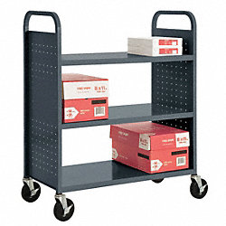 Book Truck, 42Hx37Wx18D In, 3 Shelves, Char