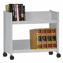 Book Truck, 24 1/2Hx28W In, 2 Shelves, Gray