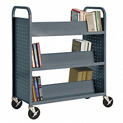Book Truck, 42Hx37W In, 6 Shelves, Char