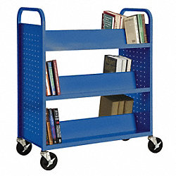 Book Truck, 42Hx37W In, 6 Shelves, Blue