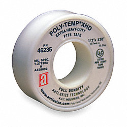 Thread Sealant Tape, PTFE, 1/2 x 520 In