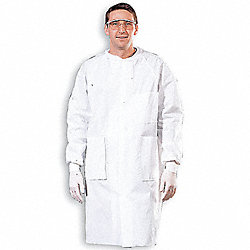 Disp. Lab Coat, L, Multilayer, White