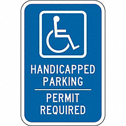 Parking Sign, 18 x 12In, WHT/BL, G-53, MUTCD