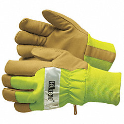 Leather Gloves, Insulated, Lime Green, M, PR