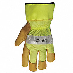 Leather Gloves, XL, Hi Vis Green, PR