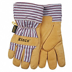 Leather Gloves, Insulated, Pigskin, L, PR