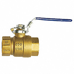 Ball Valve, 2 Pc, 3/4 In, Brass, FNPT