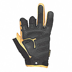 Mechanics Gloves, 3/4 Finger, Tan/Blk, L, PR