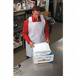 Disposable Apron, White, 28 In. L, PK 100