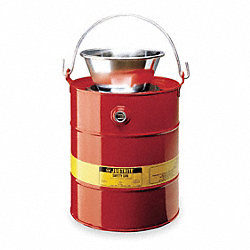 Drain Can, 5 Gal., Red, Galvanized Steel