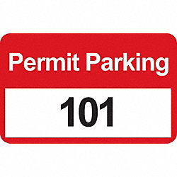 Parking Permits, Bumper, Wht/Red, PK 100