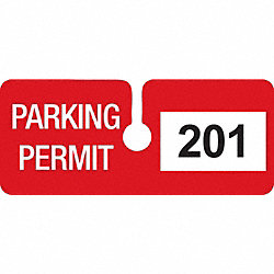 Parking Permits, Rearview, Wht/Red, PK 100