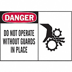 Danger Sign, 3-1/2 x 5In, R and BK/WHT, ENG