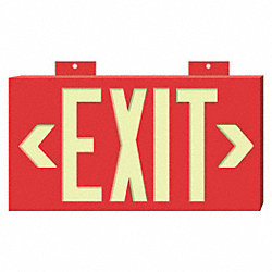Exit Sign, 8 x 15In, YEL/R, Exit, ENG, SURF