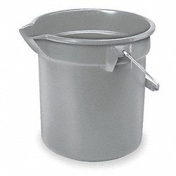 Bucket, 10 Qt., Gray, HDPE, 10-1/4 In H