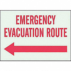 Emergency Evacuation Route Sign, R/WHT