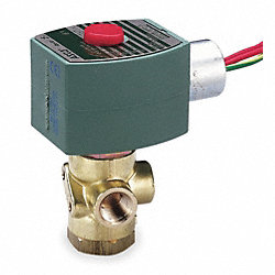Solenoid Valve, 3 Way, NO/NC, Brass, 1/4 In