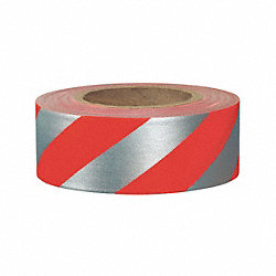 Flagging Tape, Red/Silvr, 300ft x 1-3/16In