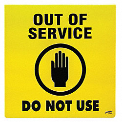 Maintenance Sign, 14 x 14In, BK/YEL, ENG