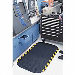 Anti-Fatigue Mat, 33x58In, 5/8In, Blk/Yllw