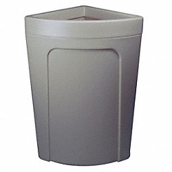 Corner Round Trash Receptacle, 21 G, Gray