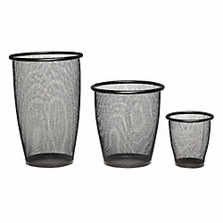 Mesh Small Round Wastebasket, Black, 9H