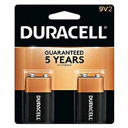 Battery, Alkaline, 9V, PK 2