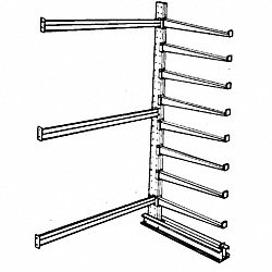 Add-On Cantilever Rack, 2 Sides, 8 ft. H