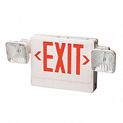 Exit Sign w/Emergency Lights, 12W, Grn
