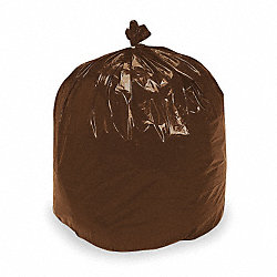 Recycled Can Liner, 33 gal., Brn/Blk, PK100