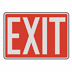 Emergency Exit Sign, 10 x 14In, R/WHT, Exit