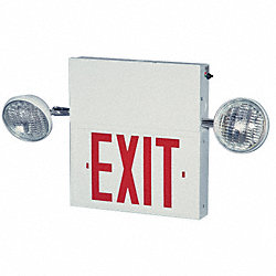 Exit Sign w/Emergency Lights, 8W, Red