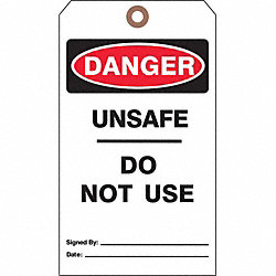 Danger Tag, 7 x 4 In, Bk and R/Wht, PK25