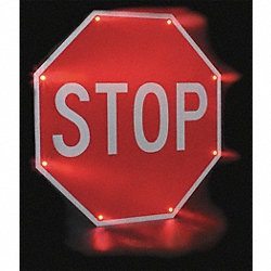Traffic Sign, 30 x 30In, WHT/R, Stop, Text