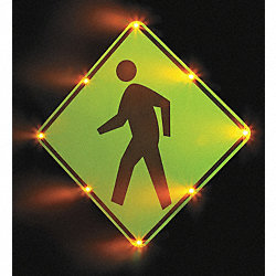 Traffic Sign, 36 x 36In, BK/FLUOR YEL, SYM