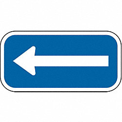 Parking Sign, 6 x 12In, WHT/BL, SYM, L-Arrow