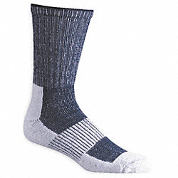 Hiking, Socks, Crew, Mens, L, White/Navy, 1 Pr