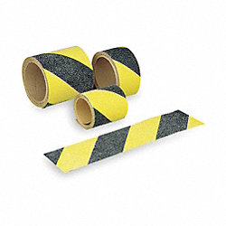 Antislip Tape, Black/Ylw Stripes, 4Inx60ft