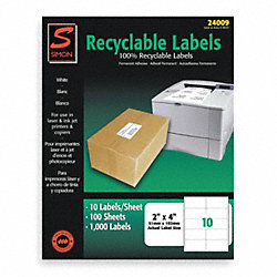 Laser Label, White, 10 Signs, PK100