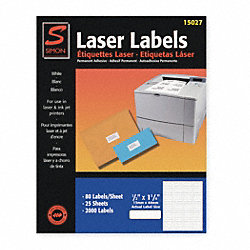 Laser Label, White, 80 Signs, PK25