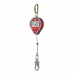 Slf-Rtrctng Lifeline, 20ft, Stnlss Stl, Red