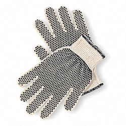 Knit Glove, L, White/Black, PVC Dots, PR