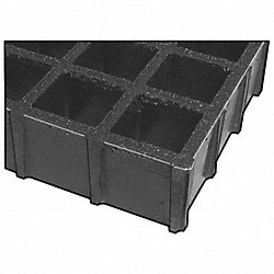 Grating, Molded, 1.5 In, 3x5 Ft, Sq Mesh, Gry