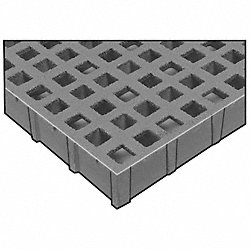 Grating, Mld, 1.5In, 4x12Ft, Sq Mesh, Gry, Men