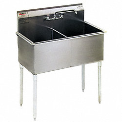 Utility Sink, 430SS, 49-3/8 In L, Floor