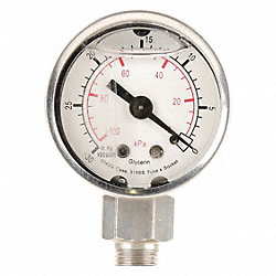 Vacuum Gauge, Filled, 1 1/2 In, 30 In Hg, SS