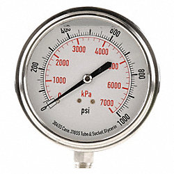 Pressure Gauge, Filled, 2 1/2In, 1000Psi, SS