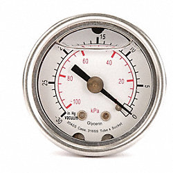Pressure Gauge, Filled, 2 1/2 In, 30 Psi, SS